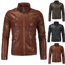 Stylish Mens Slim Fit Stand Collar Motorcycle PU Leather Jacket Coat Outerwear