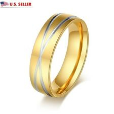 USA Unisex 6MM 18K Gold Plated Stainless Steel Criss X Cross Ring Promise Ring