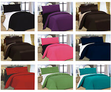 2-Tone Reversible 4Pcs Complete Duvet Cover With P.Cases & Fitted Sheet Bed Set