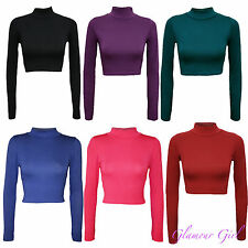 Ladies Polo Neck Crop Top Womens Plain Turtle Neck Belly Top