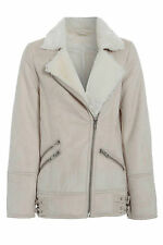 Ladies Wallis Faux Fur Collar Fully Lined Winter Coat Jacket Beige Stone Cream