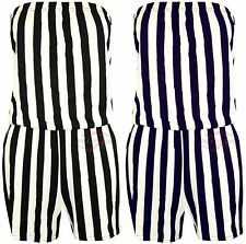 WOMENS LADIES GIRLS STRIPE SSIGN PRINT STRAPLES SEXY PLAYSUIT JUMPSUIT SIZE 8-12