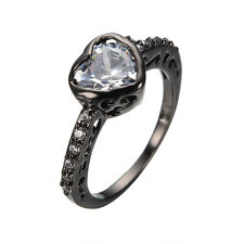 Sz 6-10 Heart CZ Women's White Crystal 10Kt Black Gold Filled Wedding Party Ring