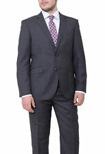 Ideal Slim Fit Gray Birdseye Two Button Wool Suit