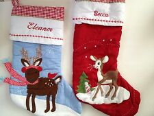 Embroidered Pottery Barn Kids Christmas Stocking Quilted Fabric, Reindeer