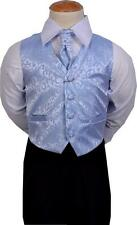 Boys Suits 4pc Pale Blue Swirl Suit Wedding Formal Pageboy 3-6 mths - 8-9 years