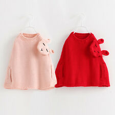 Children's Wool Shawl Cartoon Rabbit Cloak Cute Girls Sweaters Autumn Korean