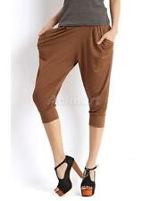 Womens Sexy Candy Color Cropped Baggy Harem Pants Stretchy Tapered Leg Trousers