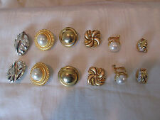 Monet Clip on Earrings Vintage Signed Gold Tone