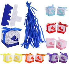 50x Love Heart Wedding Favours Party Supplies Gift Candy Boxes Bags w/ Ribbons