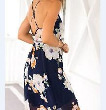 Halter Summer New Printed Chiffon Harness Dress Beach Irregular Sundress Sexy