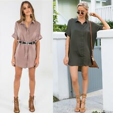 Women's Blouse OL T-Shirt Long Sleeve Button Down Casual Tops Ladies Loose Dress