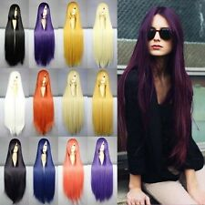 Free Shipping Long Cosplay Wig Womens Wavy Curls Straight Wig Halloween Party US