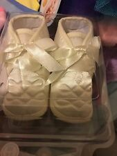 Baby Boys Christening Shoe Boots Embroidered Ivory White Satin 0-3 3-6 6-12 Mths