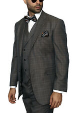 Classic Fit Gray With Subtle Blue Glen Plaid Two Button Three Piece Wool Suit