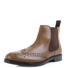 Mens Guys Boyne Brown Tan Leather Brogue Detailed Ankle Chelsea Boots Shu Size