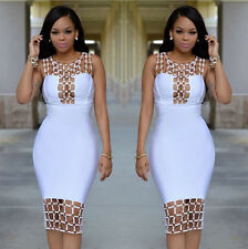 00541 Women Sexy Hallow Out Bandage Dress Bodycon Mini Dresses Clubwear Party
