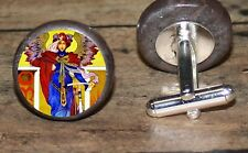 WARRIOR ANGEL altered Art Cuff Link or Tie Tack or Ring or Pendant or Pin