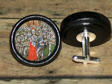 Queen ISABELLA & Roger Mortimer Altered Art CUFF LINK or HAIR PIN pair Set