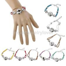 Elegant Jewelry Hand Rope Weaving Alloy Button DIY Bangle Bracelet for Noosa