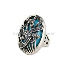 Retro Oval Resin Crystal Rhinestone Musical Note Statement Finger Ring