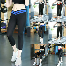 Women Sport Athletic Workout Fitness Yoga Waistband Sexy Capri Leggings Pants US