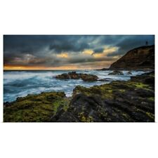 Poster Print Wall Art entitled Rocky coastline sunset