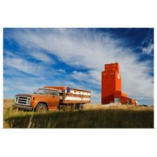 Poster Print Wall Art entitled Old Farm Truck And Grain Elevator, Stoughton,