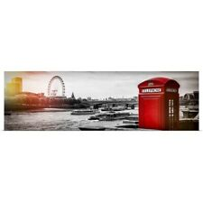 Poster Print Wall Art entitled Red Telephone Booth and River Thames, London
