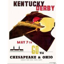 Poster Print Wall Art entitled Kentucky Derby Horse Racing, Vintage Poster