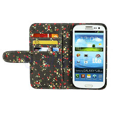 Pure Color Strawberry Leather Flip Wallet Case For Samsung Galaxy S3 i9300 WT