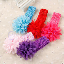 Baby Girls Large Ruffle Flower Lace Hairband Soft Elastic Headband Hair Band WT