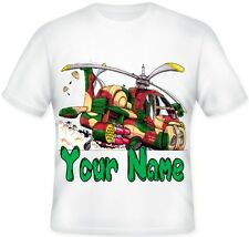 TOP Kids BOYS Koolart Personalised ARMY HELICOPTER T Shirt BIRTHDAY Gift