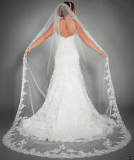 New 1T White/ivory Long Lace Edge Bridal Wedding bride Veils With Comb