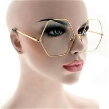 OVERSIZED OCTAGON SUNGLASSES CLEAR LENS RETRO DESIGNER SUNGLASSES