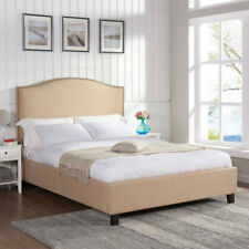 Upholstered Platform Bed Frame Beige Linen Nailhead Full Queen King California