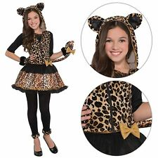 Sassy Spots Leopard Fancy Dress Girls Costume Witches Cat Halloween Kitty Kitten
