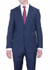 Mens Extra Slim Fit Solid Heather Blue Two Button Super 140's Wool Suit