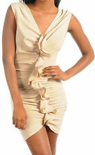 Sexy Cocktail Beige Ruffle Ruched Front Sleeveless Stretch Mini Dress New S