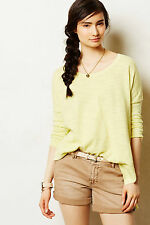Anthropologie Reese Pullover L, Yellow Slubby Soft Swingy Effortless Top By Moth
