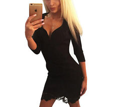 56881 Women 3/4 Sleeve Deep V Neck Sexy Dress Lace Patchwork Black Mini Clubwear