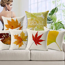 Autumn Leaves Cotton Linen Car Cushion Cover Square Pillow Cases Home Decor 18""