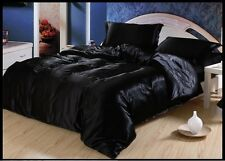 SALE BLACK SOLID 1000TC SATIN SILK FITTED/SHEET/DUVET CHOOSE SIZ&ITEM