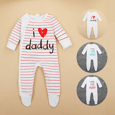 Cotton Newborn Baby Boys Girls Bodysuit Outfits Costume Romper Clothes Dad Mom