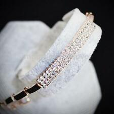 Simple Elegant Crystal Cube Bracelet Cuff Bangle Gifts Jewelry-Rose Gold/Silver