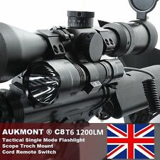 CREE 1200LM Tactical Scope Mount Flashlight Lamp Hunting Gun Air Rifle Torch Set
