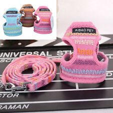 Breathable Cute Mesh Knitting Dog Harness and Leash Set For Puppy Small Dogs