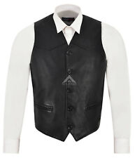 Men's Party Black Fashion Classic Designer Real Soft Nappa Leather Waistcoat