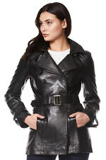 Chic Style Ladies Black Classic Trench Mid Length Designer Leather Jacket Coat