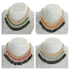 Fashion Jewelry Crystal Chunky Statement Bib Pendant Chain Choker Necklace #YQ